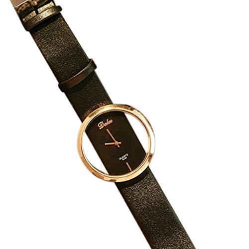 Damen Uhren PU-Leder-Transparente Vorwahlknopf-Höhle-analoge Quarz-Armbanduhr Frauen Retro Zifferblatt Armband Fashion Damenarmbanduhr 2019 Neu LEEDY