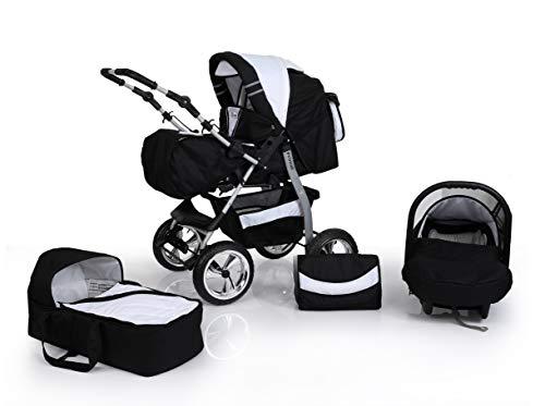 Clamaro 'Primal VIP' 3in1 Premium Kombikinderwagen System, Kinderwagen Kombi mit Babywanne, Buggy und Auto Babyschale Gruppe 0+ (0-13 kg), Felge: Delta (Hartgummi Reifen), Design: 19. Schwarz/Weiß