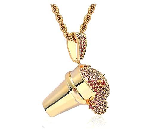JIAH Collares colgantes para hombre con forma de copa de hip-hop con circonita AAA, colgantes para hombre, collar de joyería hiphop (longitud: 24 pulgadas, color de metal: dorado con rojo)