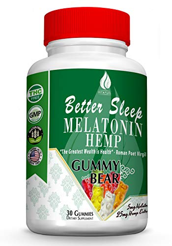 Melatonin Hemp Gummies - Sleep, Anxiety and Stress Relief. 5mg Melatonin + 25mg of 100% Pure All Natural Hemp Extract in Every Gummy. #1 Natural Sleep Aid to Promote restful Sleep -30 Servings