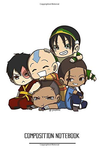Avatar The Last Airbender Chibi Gaang Sticker Notebook: (110 Pages, Lined, 6 x 9)