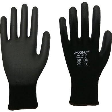 Foto di Guanti protettivi a maglia da lavoro Nitras 6215 Set di 12coppie, colore: nero, taglie XS–3XL, Nero, 6215
