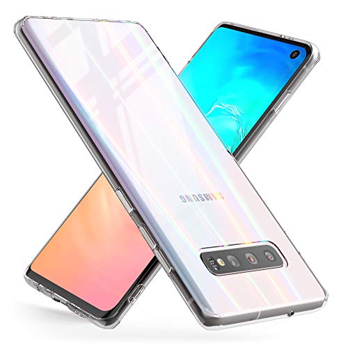 NALIA Tempered Glass Case Compatible with Samsung Galaxy S10, Protective Iridescent Holographic Hard Cover with Silicone Bumper, Transparent Shockproof & Scratch-Resistent Mobile Phone Back Protector