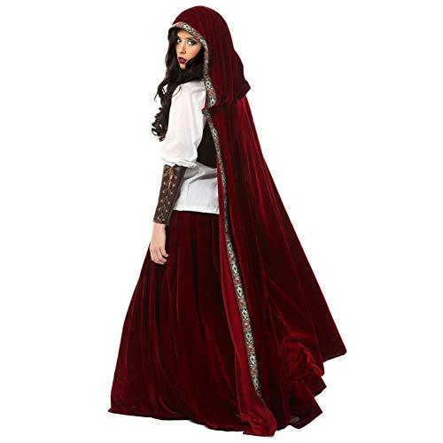CYYMY Disfraz de Caperucita Roja para Mujer, Disfraz de Rendimiento de Fiesta de Carnaval, Cosplay Adulto a Capa Gótica Rojo Vino Caperucita Roja Uniforme del Juego,Rojo,XL