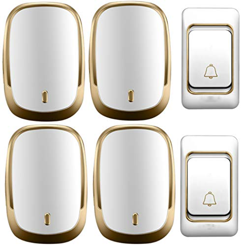 TYXS Wireless Doorbell, Waterproof Cordless Door Chime Kit with 300m Range, 36 Chimes, 4-Level Volume, Best for Door Entry Bell,Gold