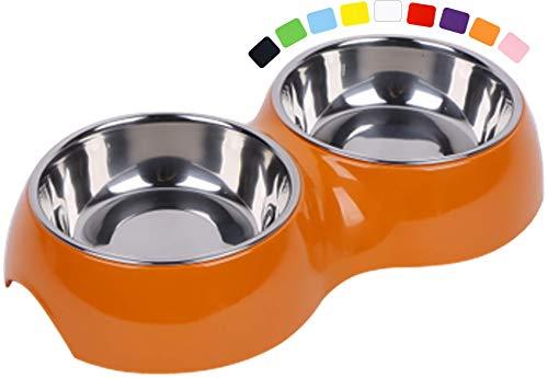 DDOXX Comedero Doble Perro, Antideslizante | Muchos Colores y Tamaños | para Perros Pequeño, Mediano y Grande | Bol Accesorios Acero INOX-Idable Melamina Gato Cachorro | Naranja, 2 x 700 ml