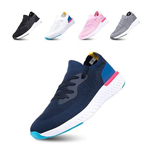 Laufschuhe Herren Turnschuhe Damen Outdoor Fitness Straßenlaufschuhe Schnürsenkel Sneaker rutschfeste Atmungsaktiv Leicht Freizeitschuhe B Blau EU38