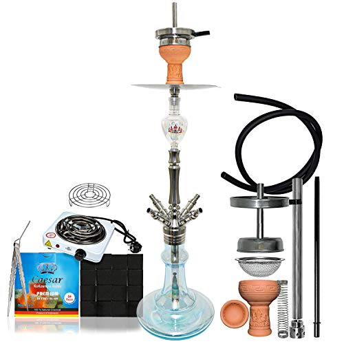Caesar 4kings - Stainless Steel - Mid Shisha Set 4er - 69 cm - Komplettset mit Kohle (2,6cm), Premium Kohleanzünder, 4 Schliff Adapter (Shining Light Blue - 04)