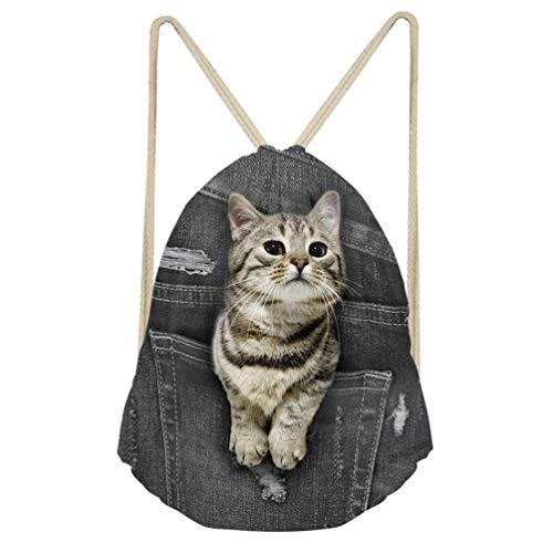 Showudesigns - Mochila con cordón, con efecto de tela vaquera, con diseño de animal , perfecta para viajar, para niños, color negro, color cat 1, tamaño medium