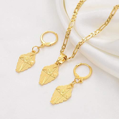 UCJHXFR Juego de collar y pendientes para mujer con colgante de cruz pequeña de Guam, joyería hawaiana con cruz dorada # 216106