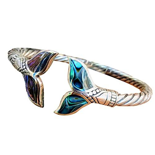 Pulsera de cola de pez plateada con degradado de color ajustable, para mujer