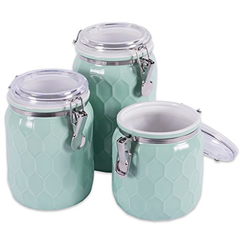 DII 3-Piece Modern Honeycomb Half Matte Glaze Ceramic Kitchen Canister Jar With With Airtight Clamp Lid For Food Storage, Serve Coffee, Sugar, Tea, Spices and More and More, Aqua