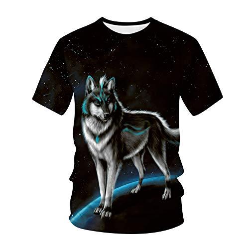 OPIAL Herren T-Shirt 3D Tier Gedruckter Mode mit Tiermotiv Tops T-Shirt Sweatshirt Lässige Basic Shirt Rundhals Stretch Lässig (A3,Schwarz,M)