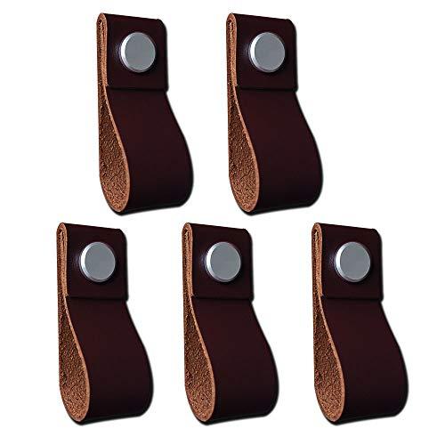 POFET Tiradores de cuero hechos a mano para puerta de gabinete, tiradores de cocina, pomos de cocina, 195 x 26 mm, color marrón oscuro