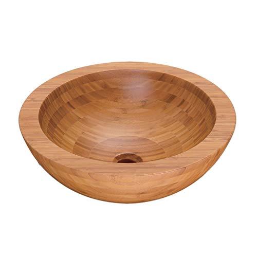 NEG Waschbecken Madera R35 (rund) Bambus/Massivholz Aufsatz-Waschschale/Waschtisch (braun) mit versiegelter/karbonsierter Oberfläche