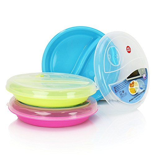 (Set of 3) Microwave Food Storage Tray Containers - 2 Section / Compartment Divided Plates w/ Vented Lid