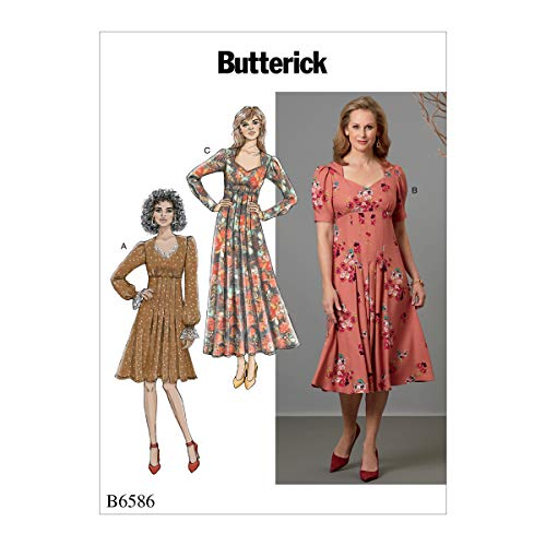 Butterick Patterns Women's Knee Ankle Length Pleater Dress Sewing Patterns, 6-8-10-12-14, White
