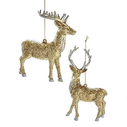 Kurt Adler Gold and Silver Reindeer Ornaments 2 Assorted