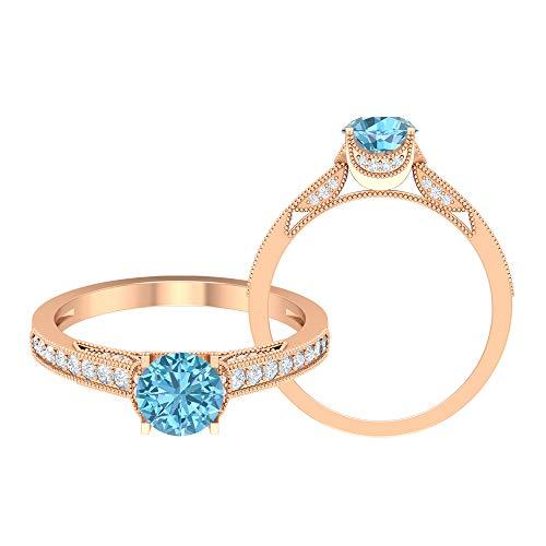 Anillo solitario de aguamarina de 6 mm, anillo de moissanita, anillo de oro macizo para mujer, anillo de compromiso de piedra lateral, oro de 18 quilates blanco