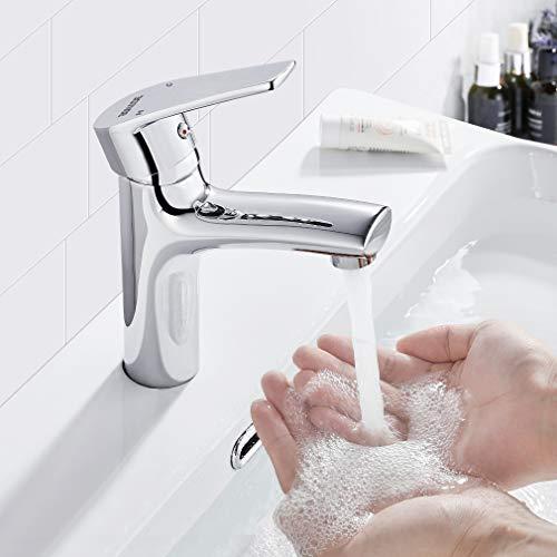 BONADE Wasserhahn Bad Einhebelmischer Waschbecken Armatur Messing Waschtischarmatur für Bad Mischbatterie Badarmatur Einhand Waschtischbatterie für Badezimmer