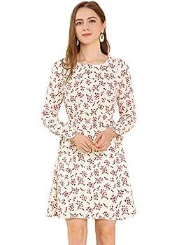 Allegra K Women s Floral Dress Long Sleeves Peasant A-line Chiffon Dresses Large Beige
