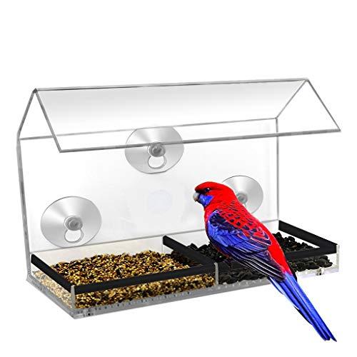 Mangeoire à oiseaux avec ventouses fortes, en acrylique transparent à suspendre pour fenêtre à oiseaux, bac à semences amovible, facile à recharger.