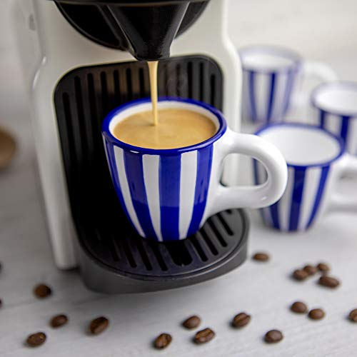 City to Cottage® - Espressotassen Set | Blau-Weiß gestreift | Handgemacht | Keramik Geschirr Espressotassen 4er Set | Mokkatassen Set