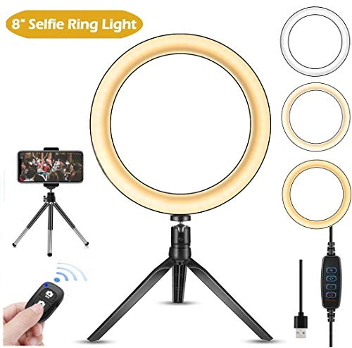 Ring Light 8' with Tripod Stand and Phone Stand for Live Broadcast/Makeup/YouTube/Video/with Cell Phone Holder Desktop LED Lamp with 3 Light Modes & 11 Brightness Level with iPhone and Android