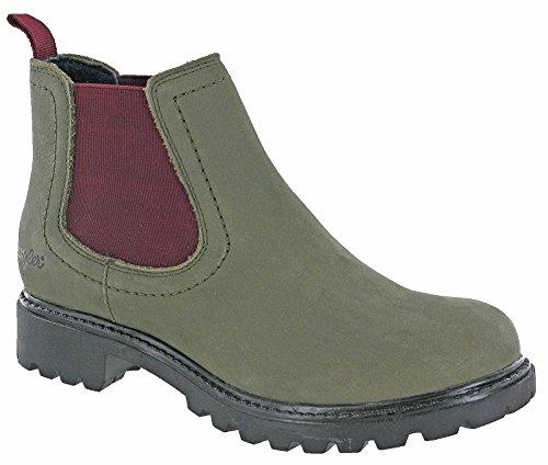 Wranglers Creek Chelsea Damen Stiefeletten mit Zwickel, Grün - Militär Bordeaux - Größe: 38 EU