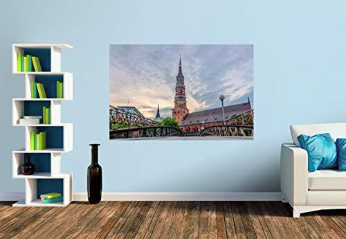 Premium Foto-Tapete Liebesschloss-Brücke mit St. Katharinen (versch. Größen) (Size S | 186 x 124 cm) Design-Tapete, Wand-Tapete, Wand-Dekoration, Photo-Tapete, Markenqualität von ERFURT