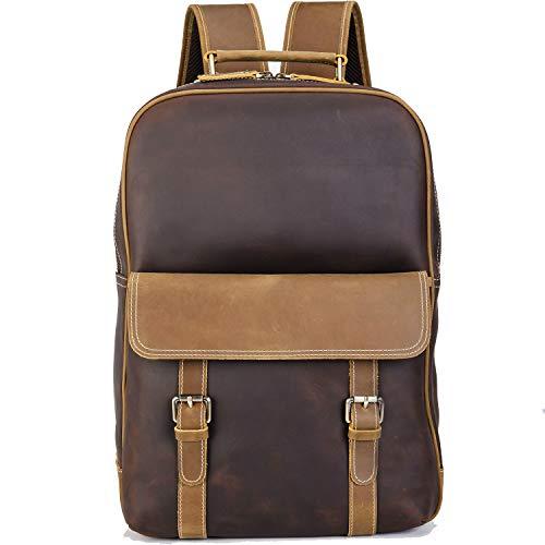 TIDING Vintage Vollnarben Leder Rucksack 15,6 Zoll Laptop-Tasche für Männer mit Trolly Strap, große Kapazität Daypacks Weekender Brown Camping Travel Schulbuchtasche