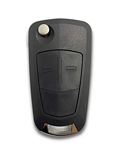 Shoppy Lab - Carcasa para Llave de Control Remoto, 2 Botones de Repuesto, Compatible con Opel Vectra Astra Tigra Corsa Zafira, Llave Completa con Carcasa y Hoja