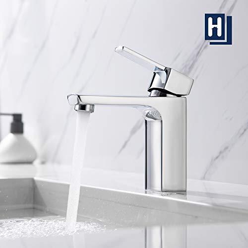 Wasserhahn Bad,HOMELODY Armatur Waschbecken Eckig Waschtischarmatur für Bad Mischbatterie Chrom
