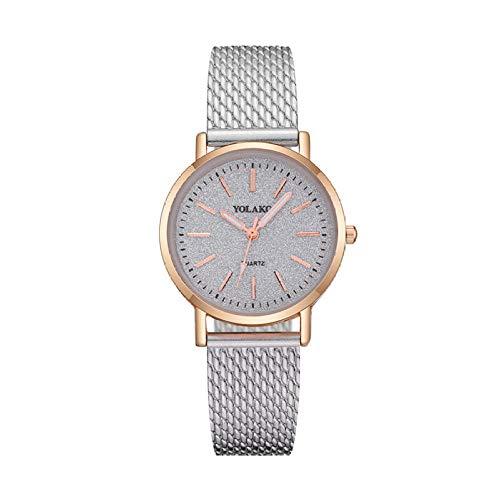 Uhr Damenuhr Armband Geschenk Feiner Bügel Gitter Skala Uhr Handgelenk Dekorations Uhr-Weiß