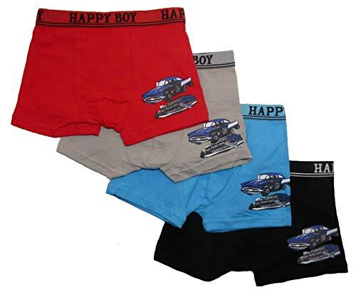 Generisch 4'er Set Jungen Unterhosen mit Oldtimer Motiven Auto Boxershorts 4 Stück (Mehrfarbig, 128-134)