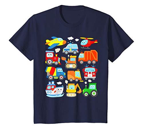 Kinder Flugzeug Feuerwehr Polizei Auto Zug Bagger Müllabfuhr Schiff T-Shirt