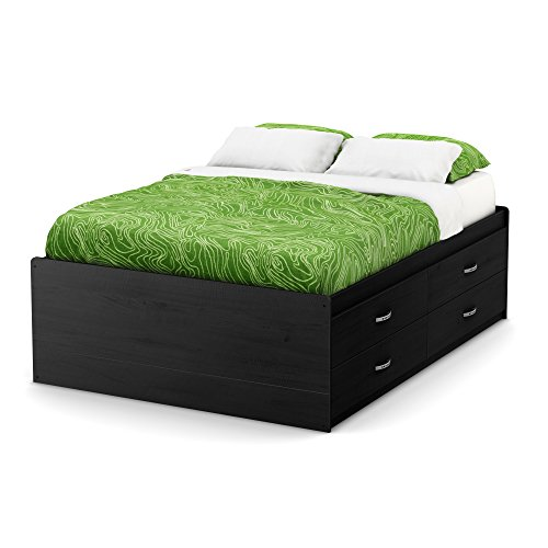 South Shore Lazer Captain Bed with 4 Drawers, Full 54-inch, Black Onyx