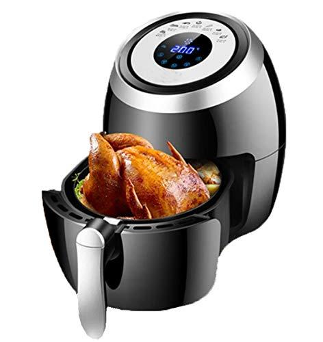 NANXCYR pneumatische friteuse, 5 liter, 1500 W, met digitaal display, timer en temperatuurcontrole, volledig verstelbaar, voor vet- en vetvrij koken in gezonde vorm, zwart