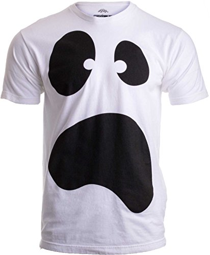 Silly Ghost Face   Spooky Halloween Ghoul Face Easy Costume Unisex T-Shirt-Adult,XL White