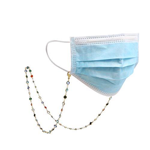 fishhook Zarte Brille Kette Sonnenbrille Lesebrille Strap Inhaber bunte Perlen Kette Keeper Lanyard für Frauen Mädchen Oma (Gold, White-Cord)