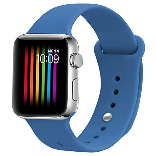 VIKATech Correa de Repuesto Compatible con Apple Watch de 44 mm 42 mm, Correa de Silicona Suave de Repuesto para iWatch Series 4/3/2/1, S/M, Denim Blue