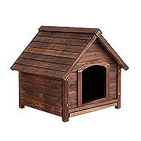WANGLX 木製ドッグハウスペットの猫のウサギハウスペットベッド簡単には簡単に清掃屋外防水ステンレススチールロックを組み立てるために犬小屋 (Size : Small)