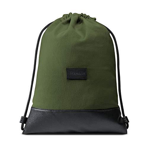 Stansøn ® Turnbeutel aus Canvas mit verschließbarer Innentasche   Daypack-Rucksack, Gym-Bag, Gymsack, Sportbeutel   Für Damen & Herren (Khaki)