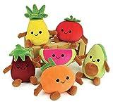 Jemini- FRUITY'S 024144 Cagette Contenant 6 Fruits et légumes en Peluche +/-17 cm Douce et Moelleuse pour Enfant, Multicolor