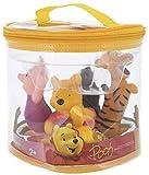 Disney Winnie The Pooh Squeeze - Juego de juguetes en bolsa de almacenamiento de vinilo, 4 piezas