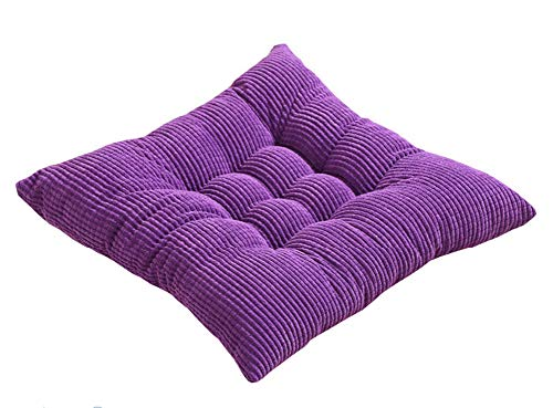 ASKEN Tufted Chair Seat Cushion Pad With Ties, Throw Pillow Square Soft Support Comfort Leaning Mat Indoor Outdoor Sofa Office Travel Home Deep Purple 45cm x 45cm