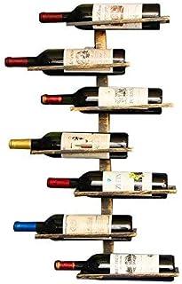 Étagère à vin murale pouvant contenir 7 bouteilles (effet vieilli)