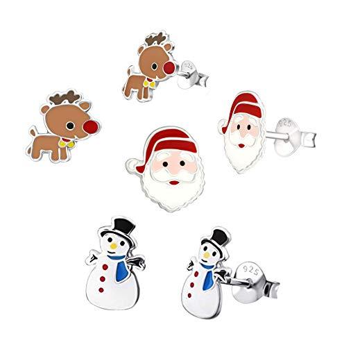 Snowman, Santa Claus & Reindeer Earrings - Sterling Silver Christmas - 3 Pairs
