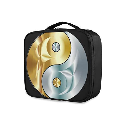 Voyage Trousse De Toilette Portable Maquillage Sac De Stockage Portefeuille Tai Chi Or Et Argent Yin Yang Outils Cosmétique Train Case