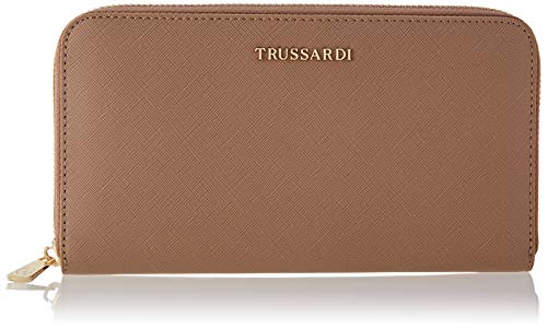 Trussardi Jeans Around, MOSCA ZIP 3 POCKET LG WALLET S Donna, Sand, NR